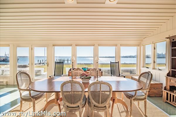Dining room with views of town and Nantucket Harbor