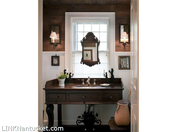 Twin Street Powder Room featruring reclaimed wood form the original structure