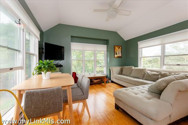 Living/dining room in 2-bedroom cottage
