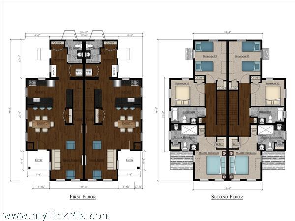 Floors plans of a duplex at 45 Beach Grass