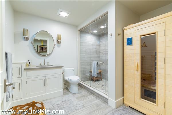 Lower level bathroom with sauna