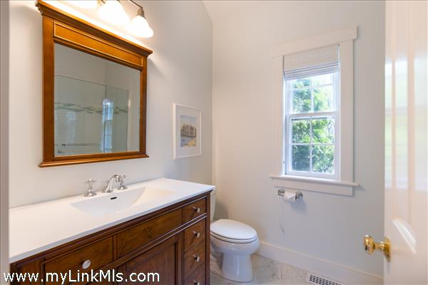 Primary suite bathroom with a shower.